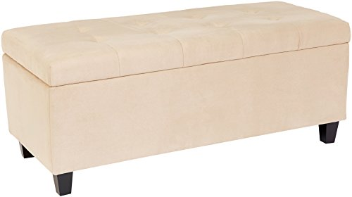 First Hill Nilos Rectangular Shoe-Storage Ottoman with Tufted Microfiber Upholstery - Bermuda Beige