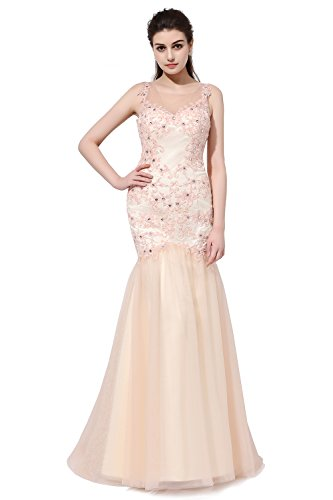 SDRESS Women's Rhinestones Lace Appliques Sleeveless Crewneck Mermaid Prom Dress