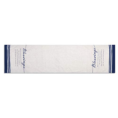 - Blessings Bountiful Indigo Blue 72 x 16 Cotton and Linen Fabric Table Runner