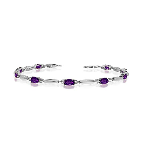 2.07 Carat (ctw) 10k White Gold Oval Purple Amethyst and Diamond Tennis Bracelet - 7