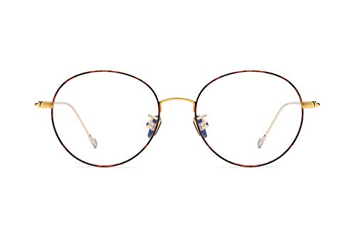 Fashion Retro Ultralight Pure Titanium Round Circle Glasses Frames Optical Glasses Unisex ()