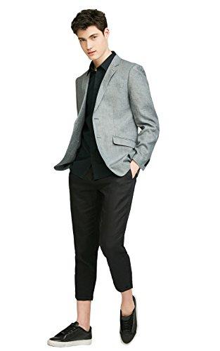 (Kelaixiang Men's Heather Slim-Fit Two-Button Side-Vent Suit Coat Cropped Pants)