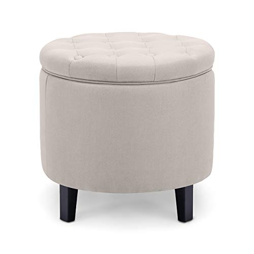 (Belleze Modern Button Tufted Accent Storage Ottoman Lift Top Footstool 17-3/4