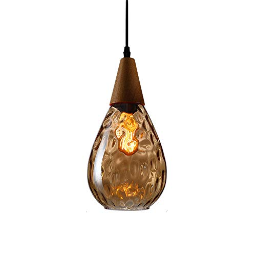 (Ganeep Modern LED E27 Pendant Lights Nordic Water Drop Glass Wood Loft Pendant Lamp Ceiling for Kitchen Island Cafe Bar Dining Room Lights Indoor Decoration Home Lighting (Color : Amber))