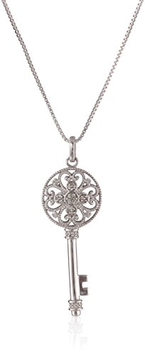 Jewelili Sterling Silver Diamond Key Pendant Necklace (1/10 cttw), 18
