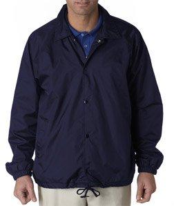 - UltraClub mens Nylon Coaches' Jacket(8944)-NAVY-L