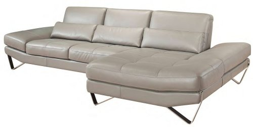 (J&M Furniture 833 Full Grey Italian Leather Sectional Sofa With Adjustable Armrests Left Hand Facing by NICOLETTI)
