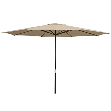 Durable 13 Foot Round Outdoor Patio Umbrella Tan Polyester W/ Pulley 8 Rib