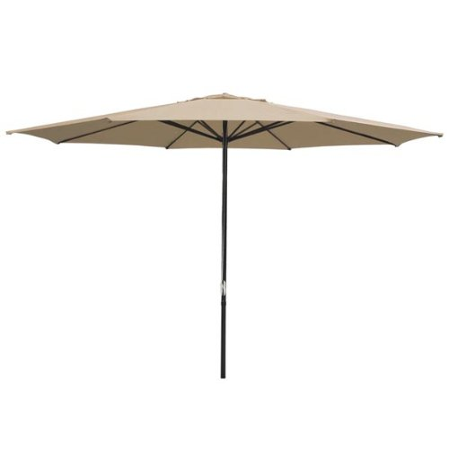 Durable 13-foot Round Outdoor Patio Umbrella Tan Polyester w/ Pulley 8-rib AL Pole 109