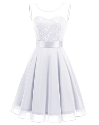 BeryLove Women's Short Floral Lace Bridesmaid Dress A-line Swing Party Dress BLP7005WhiteL - Elegant Homecoming Dresses