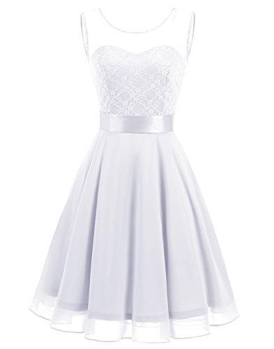 BeryLove Women's Short Floral Lace Bridesmaid Dress A-line Swing Party Dress BLP7005WhiteL