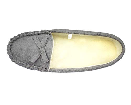 Tirzrro Flats On Plaid Slip with Foam Moccasin Grey Lining Memory Women's Slippers TTnrv7Z