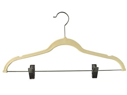 Jeronic 12 Pack Ivory Velvet Hangers Clothes Hangers Velvet Hanger Clothing Hangers Clothes Hanger Suit Hanger Ultra Thin No Slip for Shirts, Suit and Dresses