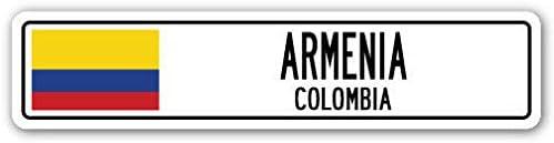 BCTS ARMENIA COLOMBIA Señal de calle de aluminio con bandera colombiana, ciudad, país, pared de la calle, para exteriores, de 4 x 16 pulgadas: Amazon.es: Hogar