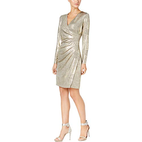 (Calvin Klein Womens Metallic Faux Wrap Cocktail Dress Gold 16)