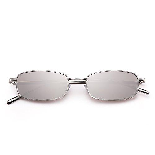 Plateado Sol Claro Mujer Hombre Plateado Teñido Gafas Delgado Rectangular Metal Pequeño de Lentes Anteojos qPHvv75