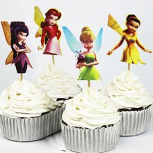 TinkerBell Cupcake Toppers Birthday Party Disney Tinkerbell Fairies Favors Pack of 24 ()