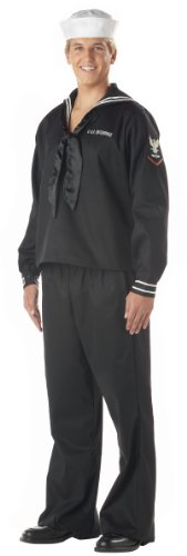 Navy Blue Sailor Costumes (California Costumes Men's Sailor Man Navy Ahoy Matey Black S Navy And Dark Blue)