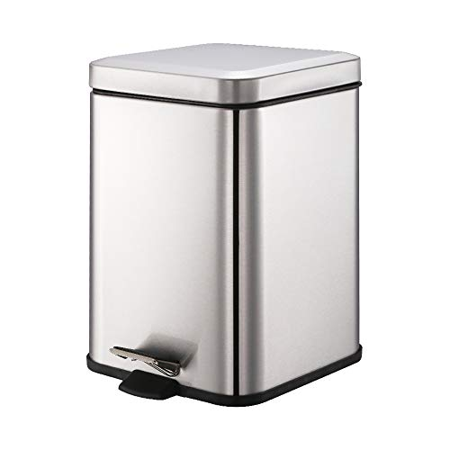 SmartBin 1.58 Gallon 6L Stainless Steel Square Step Pedal Trash Can Dust Bin Waste Basket Garbage Container Waste Paper Can Recycle Bin Dust Bin with Silent Lid for Office Kitchen Bathroom