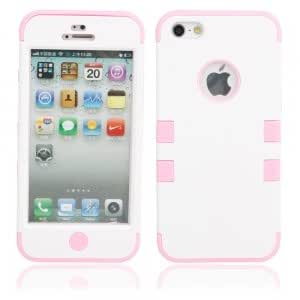 3-In-1 Silicone Protective PC Case for iPhone 5 White + Pink