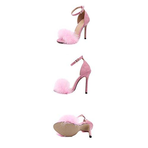 hebilla Unidos alta y Europa Señoras multa sandalias SHEO la sandalias con palabra tacón Pink de alto Estados los wSqxpPzZx