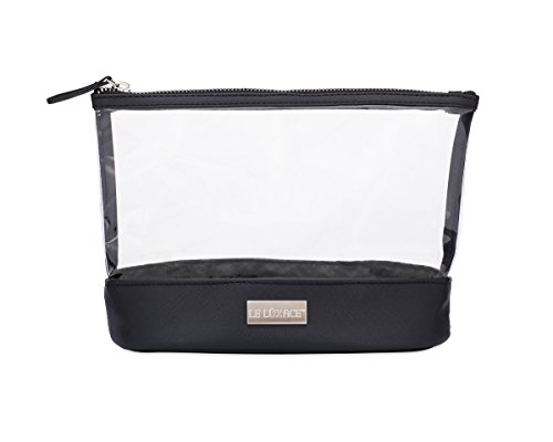 LE LUXACE Onyx + Diamond Jetsetter Pouch – Premium TSA Approved Travel Toiletry Bag – Clear and Black Cosmetic Case with Zipper