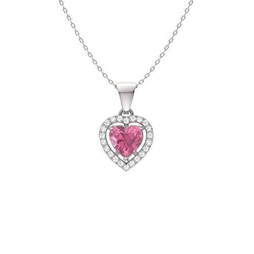 White Gold Pink Sapphire Pendant - Diamondere Natural and Certified Pink Sapphire and Diamond Heart Petite Necklace in 14k White Gold | 0.51 Carat Pendant with Chain