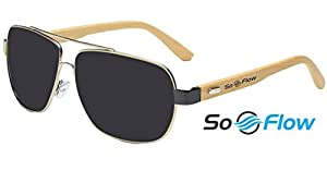 SoFlow 2018 Bamboo Aviator Wood Sunglasses for Men/Women - Wooden Frame Aviators