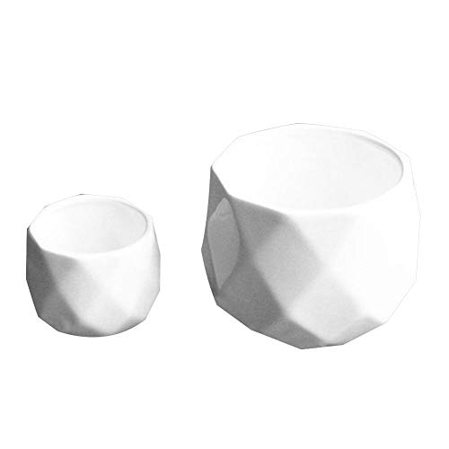 Anyutai Maceta de cerámica grande en maceta suculenta de cerámica blanca, florero esférico multifacético florero de la...