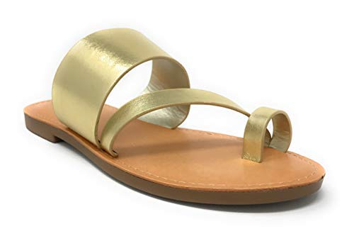 - SODA Shoes Women Flip Flops Flat Summer Basic Sandals Thongs Toe Ring Joan (5.5 M US, Gold)