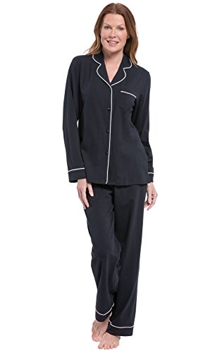 PajamaGram Women's Pajamas Long Sleeve - Soft Cotton Pajama Set, Black, M, 10-12