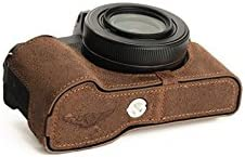 G1 X Mark III Case BolinUS Handmade Genuine Real Leather Half Camera Case Bag Cover for Canon PowerShot G1 X Mark III Camera Bottom Opening Version Lava Brown Hand Strap