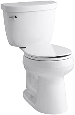 KOHLER K-3887-0 Cimarron Comfort Height Two-Piece Round-Front 1.28 GPF Toilet with AquaPiston Flush Technology and Left-Hand Trip Lever, White
