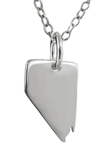 Sterling Silver Nevada State Charm Necklace, 18 Inch (Nevada State Charm)