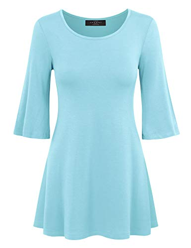 (Made By Johnny MBJ WT1056 Womens Round Neck 3/4 Bell Sleeve Pullover Tunic Top XL Aqua )