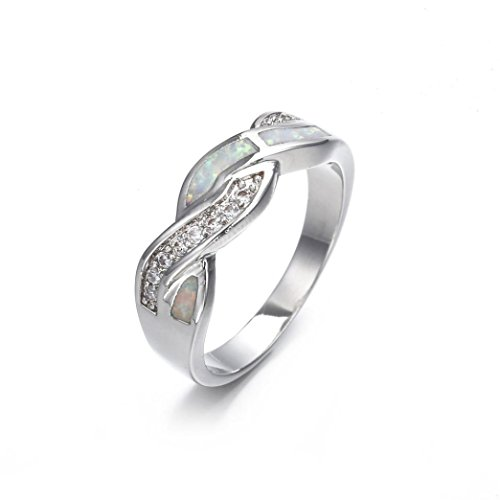 9dac219c5 Lethez Hot Sales Opal Diamond Rhinestone Criss Cross Band Ring New Creative Engagement  Wedding Jewelry (