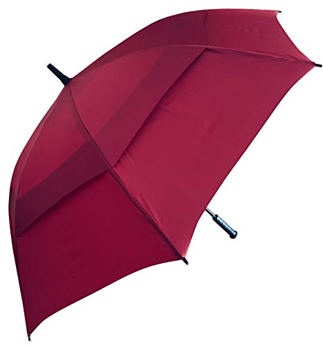 Procella Golf Umbrella Windproof and Waterproof - Push Button Open with a Vented Double Canopy, Perfect for Your Next Round of Golf, 62 inch Large (Maroon)
