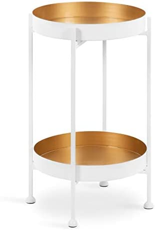 Kate and Laurel Nira Two-Tiered Modern Side Table, 15 x 15 x 24 , White and Gold, Chic Contemporary End Table for Storage and Decor
