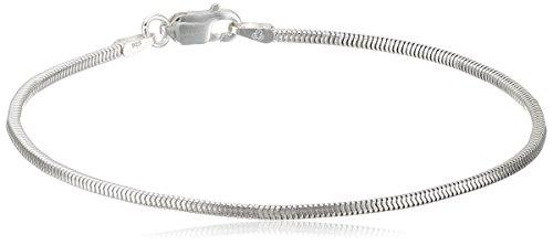 Bracelet Chain Square Snake (Sterling Silver Italian Square Snake Chain Bracelet, 7.5