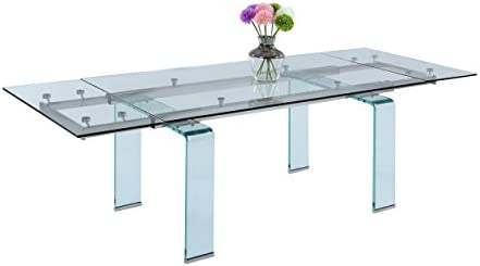 Milan Madeline Rectangular Glass Dining Table