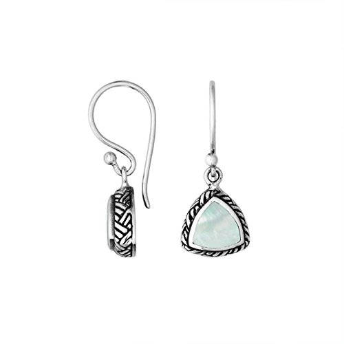 Sterling Silver Trillion Shape Earring with Mother of Pearl AE-6217-MOP