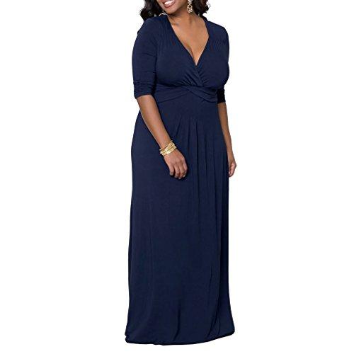 Honghu mujeres de cuello en V patrón maxi largo vestido más el tamaño de media manga vestido formal Azul