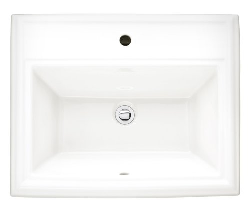 American Standard 0700.001.020 Town Square Vitreous China Countertop Sink for Single Center Hole, White (Sink Lavatory Top Mount)