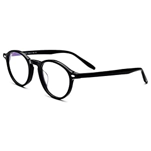 HEPIDEM Women Vintage Round Optical Glasses Frame Spectacles with Acetate 9103 (Black)