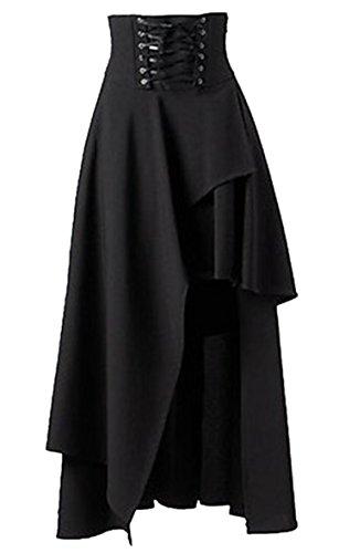 New Allonly Women Fashion Gothic Lolita Bandage Swing Long Skirt Black for cheap