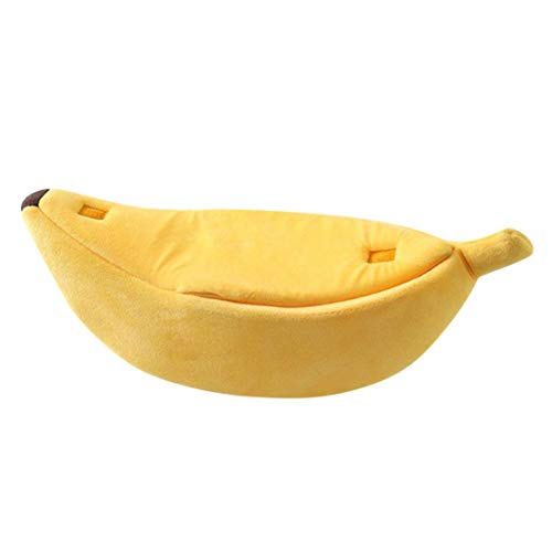 Mikey Store Small Pet Bed Banana Shape Fluffy Warm Soft Plush Breathable Bed Banana Cat Bed