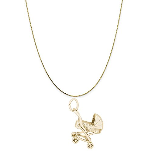 Rembrandt Charms 14K Yellow Gold Baby Carriage Charm on a 14K Yellow Gold Box Chain Necklace, 16