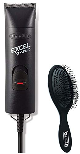 (Andis EXCEL 2-Speed Lightweight Hair and Beard Trimmer with 7 Attachment Combs and Kubicle Hair Brush Bundle)