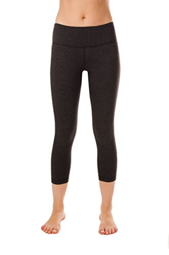 90 Degree By Reflex – Power Flex Yoga Capri – Cationic Heather Activewear Pants - Heather Charcoal Large
