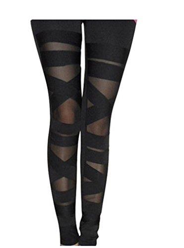 Tp Sky Women's Slim Stretch Ripped Bandage Tights Leggings Pants Black